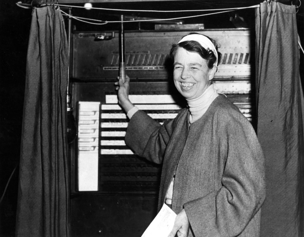 Eleanor, voting in 1936 less than 20 years after the ratification of the 19th Amendment. Photo courtesy of the Roosevelt Institute.