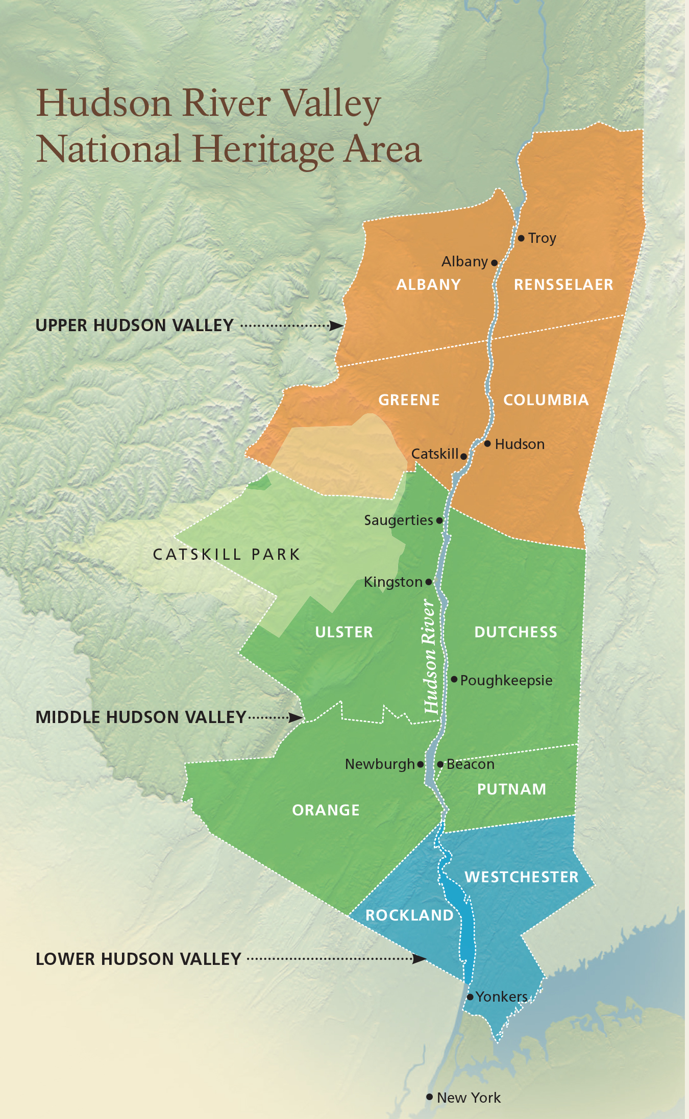 Map of Hudson River Valley National Heritage Association